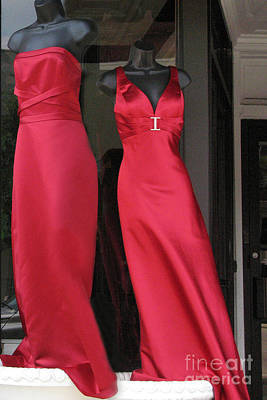 Photograph - Red Dresses Mannequins - Pretty Red Dresses Fashion Decor by Kathy Fornal