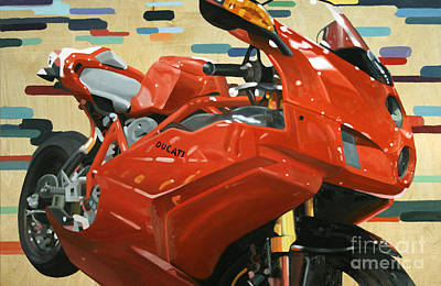 Motogp Painting - Red Ducati by Guenevere Schwien