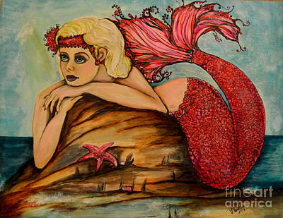 Painting - Red Dust Mermaid by Valarie Pacheco