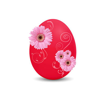 Florals Drawings - Red Easter Egg by Aged Pixel