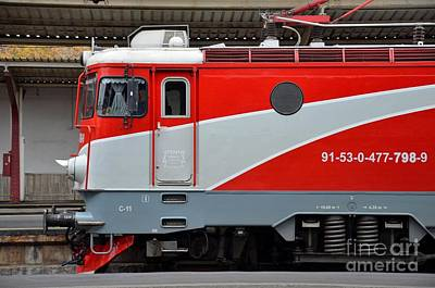 Art Print featuring the photograph Red Electric Train Locomotive Bucharest Romania by Imran Ahmed