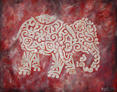 Red Elephant Art Print by Jennifer Kelly