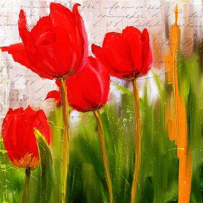 Red Enigma- Red Tulips Paintings Art Print by Lourry Legarde