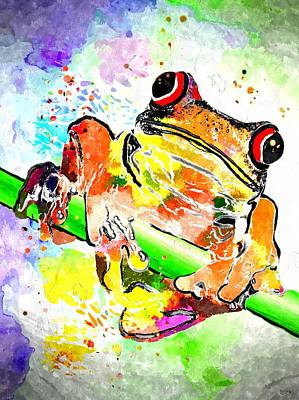 Red Eyed Tree Frog Grunge Art Print by Daniel Janda