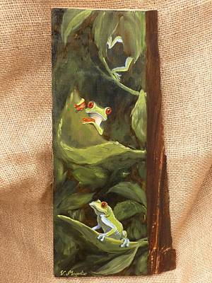 Eco Painting - Red Eyed Tree Frogs by Viktoria K Majestic