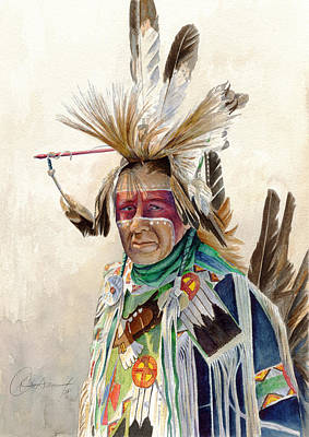 Native American Painting - Red Face Paint by Don Dane
