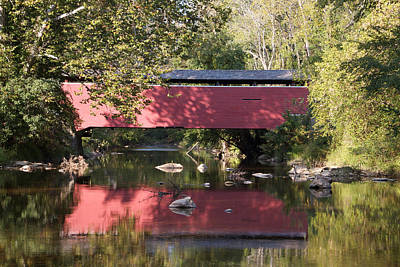 Red Fairhill Covered Bridge Two Art Print by Alice Gipson