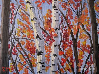 Painting - Red Fall Leaves by Stella Sherman