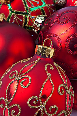 Embellishments Photograph - Red Fancy Christmas Ornament by Garry Gay