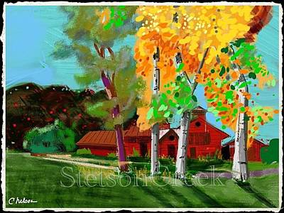 Autumn Landscape Mixed Media - Red Farm by Craig Nelson