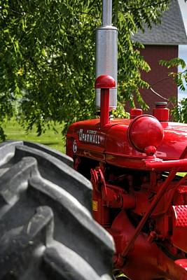 Tractor Photograph - Red Farm Tractor by Heather Allen