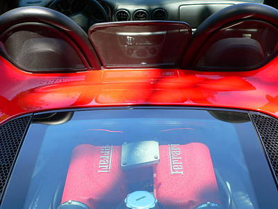 Photograph - Red Ferrari Engine And Seats by Jeff Lowe