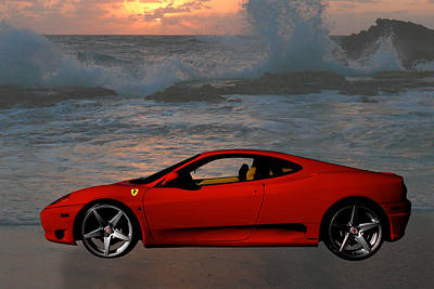 Photograph - Red Ferrari On The Beach by Fred Larson