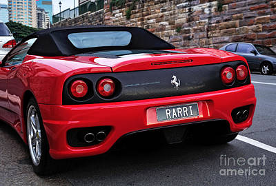 Photograph - Red Ferrari - Rear View by Kaye Menner