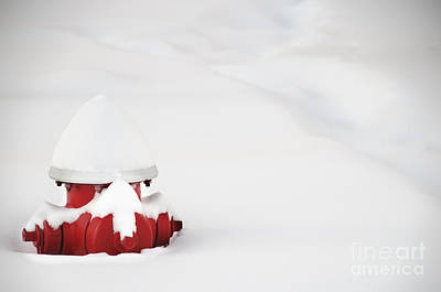Red Fired Hydrant Buried In The Snow. Art Print by Oscar Gutierrez