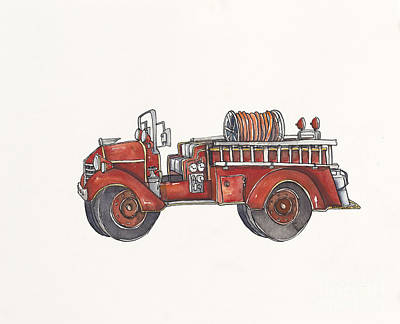 Red Firetruck Original by Annie Laurie