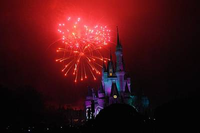 Photograph - Red Fireworks At Cinderella's Castle by Robert  Moss