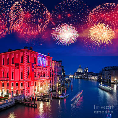 Fireworks Photograph - Red Fireworks In Venice by Delphimages Photo Creations
