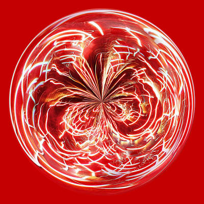 Red Fireworks Orb Art Print by Paulette Thomas