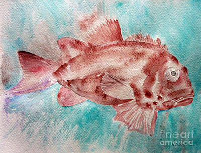 Art Print featuring the painting Red Fish by Jasna Dragun