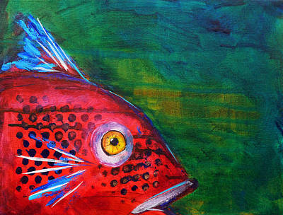 Catfish Painting - Red Fish by Nancy Merkle