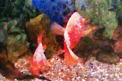 Red Fishes Painting Print by Magomed Magomedagaev