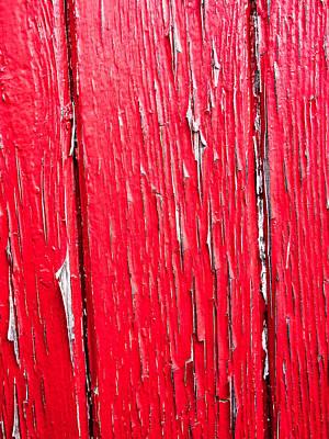 Wood Photograph - Red Flaking Paint by Hakon Soreide