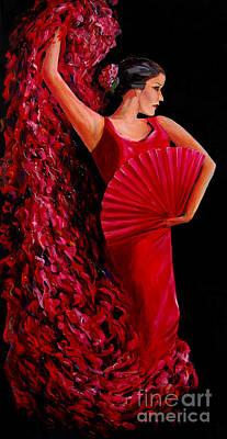 Painting - Red Flamenco Dancer by Nancy Bradley