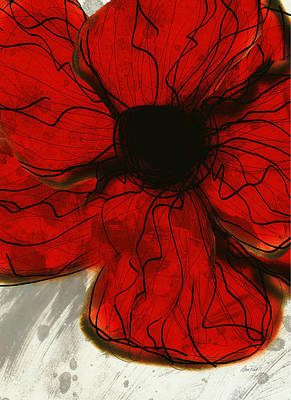 Digital Art - Red Flower -abstract - Art by Ann Powell