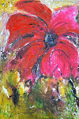 Red Flower - Abstract Painting Print by Ismeta Gruenwald