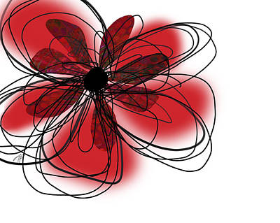 Digital Art - Red Flower Collage by Ann Powell