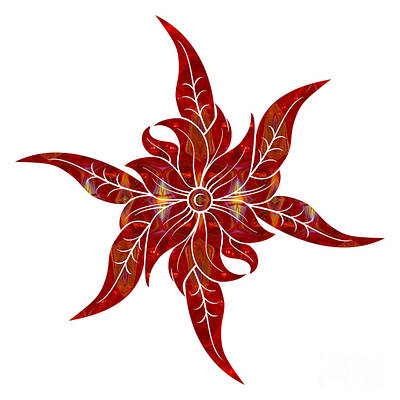 Digital Art - Red Flower Fantasy Designs Abstract Holiday Art By Omaste Witkow by Omaste Witkowski