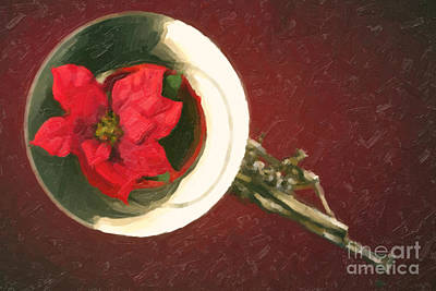 Painting - Red Flower In Bell Of French Horn Painting In Color 3436.02 by M K  Miller