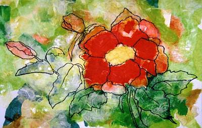 Canadian Painting - Red Flower by Louise Adams