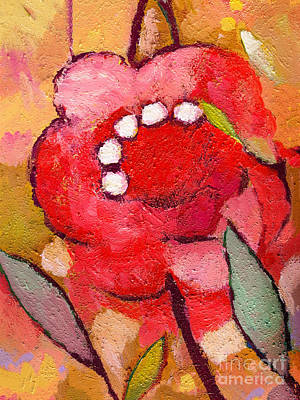 Painting - Red Flowerpower by Lutz Baar