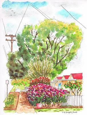 Red Flowers And A Tree In Santa Paula - California Art Print