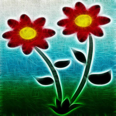 Red Flowers - Digitally Created And Altered With A Filter Art Print