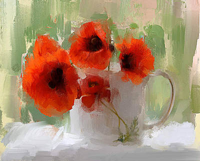 Interior Still Life Digital Art - Red Flowers In A Cup by Yury Malkov