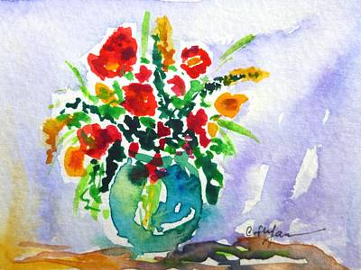 Painting - Red Flowers In A Vase by Cristina Stefan