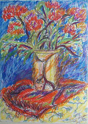 Painting - Red Flowers In A Vase by Esther Newman-Cohen