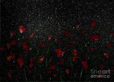 Painting - Red Flowers In Moonlight by Becky Lupe