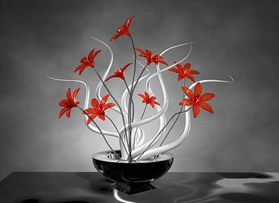 Digital Art - Red Flowers by Louis Ferreira
