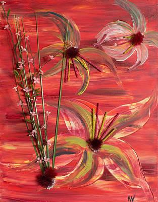 Flower Still Life Mixed Media - Red Flowers by Maralea Norden