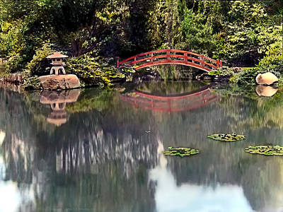 English Garden Painting - Red Foot Bridge by Terry Reynoldson