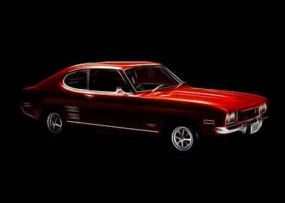 Red Ford Capri Art Print by Steve K