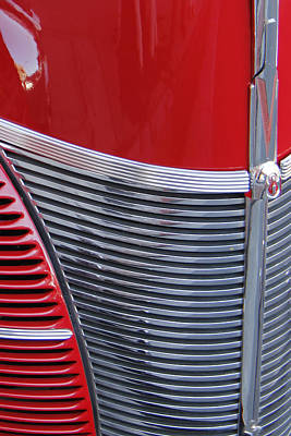 Photograph - Red Ford Deluxe Grille by Ben and Raisa Gertsberg