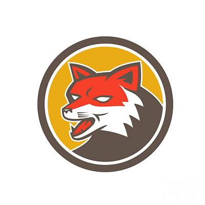 Red Fox Head Growling Circle Retro Art Print