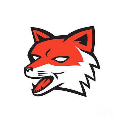 Red Fox Head Growling Retro Art Print