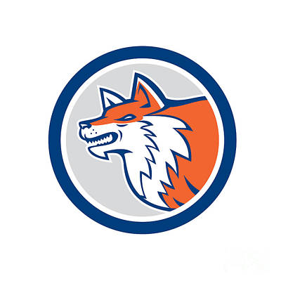 Dog Head Digital Art - Red Fox Head Pouncing Circle Retro by Aloysius Patrimonio