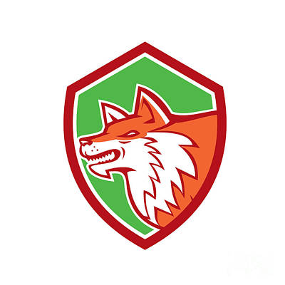 Dog Head Digital Art - Red Fox Head Pouncing Shield Retro by Aloysius Patrimonio